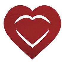 Filz Manschette für Servietten Herz, 10,5x10x0,2cm, SB-Btl 6Stück, royalrot