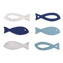 Filz Streuteile Fische 2 Sorten, 2,5x0,8x0,3cm, je 3 Fb., SB-Btl 36Stück