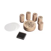 Mini Holz Stempelset Eulen, 5 St.ø2,5x4cm,1 St. ø6,5x2 cm+Zubehör/DS