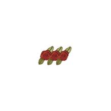 Röschen auf Schleife, 10mm ø, auf Karte, SB-Btl 20Stück, rot
