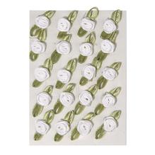 Röschen auf Schleife, 10 mm, Beutel, 20 Stück auf Karte, weiß
