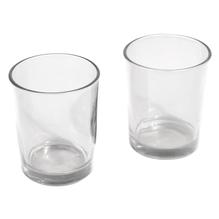 Teelichtglas, 5cm ø, 6,5cm, PVC-Box 2Stück, kristall