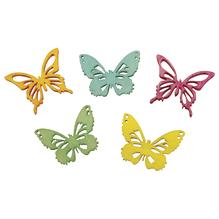 Holz Streuteile Schmetterlinge 5 Farben, 2cm, gelasert, 2 Sorten, SB-Btl 25Stück