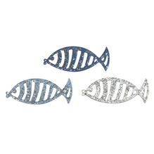Holz Streuteile Fische, 3x1,3cm, m.Glitter,3 Fb., SB-Btl 15Stück