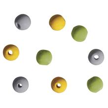 Holzperlen für Deko, 9mm ø, grün/gelb/weiß/grau, SB-Btl 60Stück