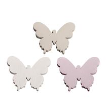 Holz Streuteile Schmetterlinge, 3,7x3,1cm, 3 Farben, SB-Btl 12Stück