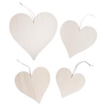 Holz-Herzen Set zum Hängen, 4 Größen, Beutel 4Stück