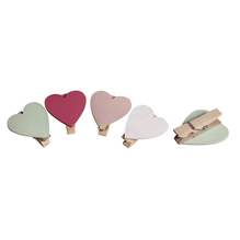 Holz-Herzen auf Klammer, 3,5cm, 4 Farben, SB-Btl 8Stück