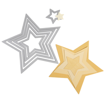Sizzix Framelits Schablonen-Set, Sterne, SB-Blister 5Stück, 1,9x1,9cm, 11,1x10,5cm
