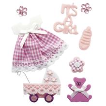 Deko-Sticker: Baby Mädchen, m. Klebepunkt, SB-Btl 8Stück