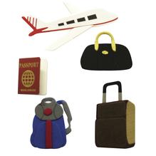Deko-Sticker: Flugreise, m. Klebepunkt, SB-Btl 5Stück