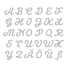 Stanzschabl. Set: Connected Alphabet, CAPITAL, SB-Btl 30Stück, 0,5-1,8cm