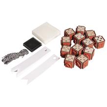 Mini Holz Stempelset- ABC, 12 St.2x2x2,5cm+Zubehör/Box