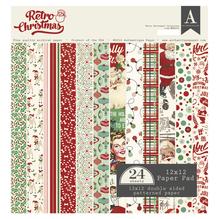 Scrap-Block sort. Retro Christmas, 30,5x30,5cm, 190g/m2, Block 24Blatt