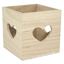 Holz Teelichthalter FSC Mix Credit, 10x10x10cm, Herzenslust