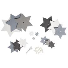 Holz-Sterne Set blau/weiß Töne, 11x16cm, Deko zum Hängen, SB-Btl 1Set