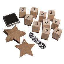 Stempel Set Zahlen 0-9, 38-teilig, m. Stern-Tags