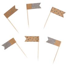 Flaggenpicker sortiert, 6,5cm, Flagge: 4x1,5cm, SB-Btl 12Stück, silber