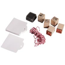 Mini Holz Stempelset- Frische Früchtchen, 5 St.2x2x2,5cm+Zubehör/DS