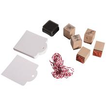 Mini Holz Stempelset-Aromatische Kräuter, 5 St.2x2x2,5cm+Zubehör/DS