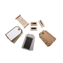 Set-Geschenkanhänger, 4,5x7,5cm, Tags+Kordel+Stempel, SB-Btl