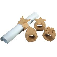 Pappm. Serviettenringe FSC Recycled100%, sechseckig,4 Sorten, Set 4Stück