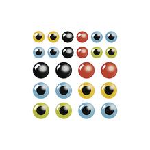 Epoxy-Sticker Augen, 10+14 cm ø, SB-Karte 24 Stück, gemischt