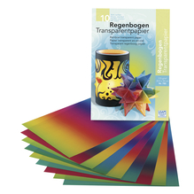 Regenbogen-Transparentpapier, 20,5x33cm, 115g/m2, Block 10Blatt