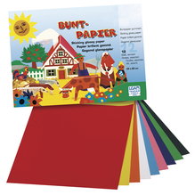 Buntpapier Heft, 23x25 cm, 12 Blatt, 12-farbig