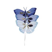 Federschmetterling, 6 cm, SB-Btl. 3 Stück, Blautöne
