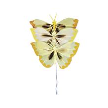 Federschmetterling, 6 cm, SB-Btl. 3 Stück, Gelbtöne