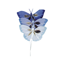 Federschmetterling, 2x4cm, SB-Btl 6Stück, Blautöne
