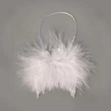 Feder Flügel mit Glitter, 5x5cm, mit Hänger, SB-Btl 2Stück, schneeweiß