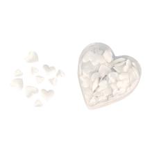 Satin-Stoff-Streuteile: Herz, wattiert, 2 Größen, 13+20 mm, Herz-PVC-Box 100 St., weiß