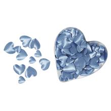 Satin-Stoff-Streuteile: Herz, wattiert, 2 Größen, 13+20 mm, Herz-PVC-Box 100 St., h.blau