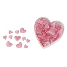 Satin-Stoff-Streuteile: Herz, wattiert, 2 Größen, 13+20 mm, Herz-PVC-Box 100 St., rosé