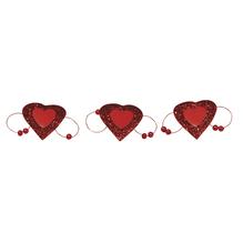 Glitter-Herz auf Metallklammer, 4x2,3 cm, SB-Btl. 6 Stück, rot