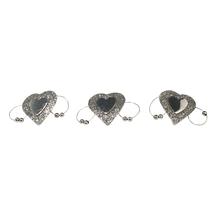 Glitter-Herz auf Metallklammer, 4x2,3 cm, SB-Btl. 6 Stück, silber