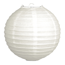 Papierlampion, 40cm ø, m. Metallgestell, Beutel 1Stück, weiß