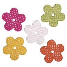 Papier Dekoblüten, selbstklebend, 3x3cm, versch. Fb., SB-Btl 15Stück, gelb, orange, pink, grün, weiß