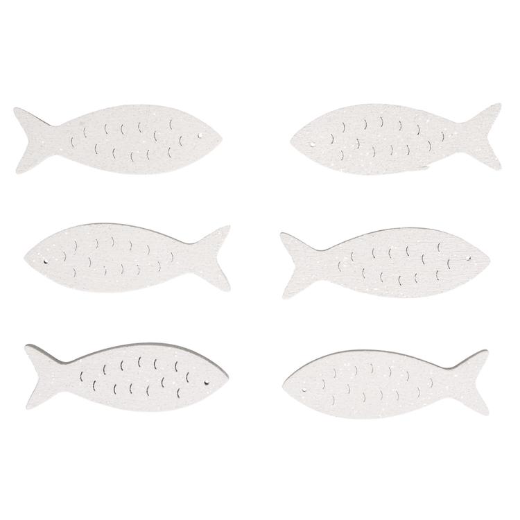 Holz-Streuteile Fische, 5x1,5cm, mit Glitter, SB-Btl 6Stück, weiß