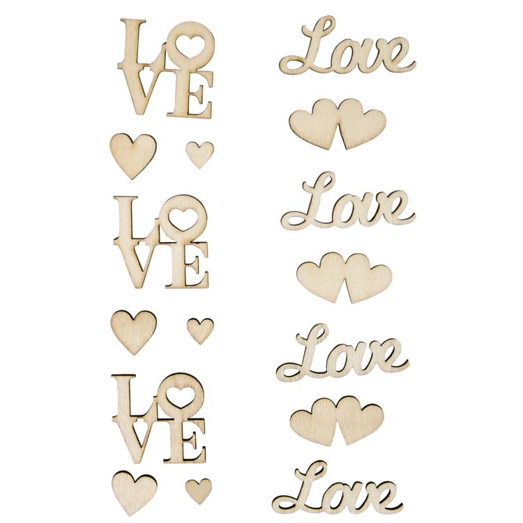 Holz-Schriftzüge Love, 13-teilig, SB-Btl