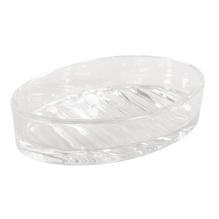 Glas Seifenschale, 13x9x3cm, mit Rillen