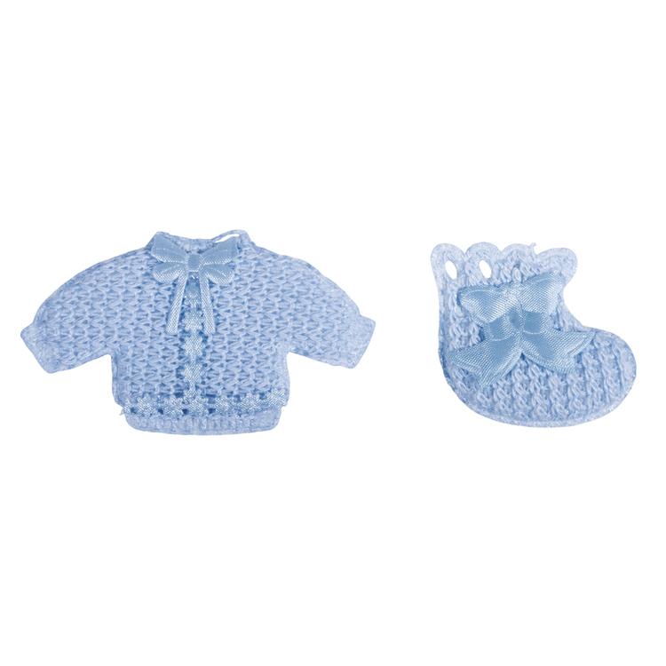 Babyaccessoires Hemdchen + Söckchen, mit Klebepunkt, sortiert, SB-Btl 6Stück, babyblau