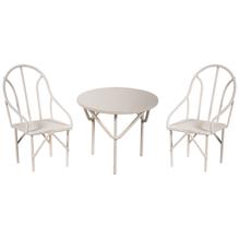 Sitzgruppe 3tlg., 2 Stühle+1Tisch, SB-Btl 1Set, weiß