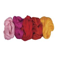 Reine Schurwolle -Kammzug, 5 Farben à 25g, SB-Btl 125g, Sommermischung