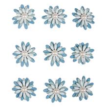 Deko-Sticker: Papierblüten m. Halbperle, m. Klebepunkt, SB-Btl 9Stück, hellblau
