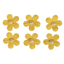 Deko-Sticker: Papierblüten m. Halbperle, m. Klebepunkt, SB-Btl 20Stück, sonnengelb