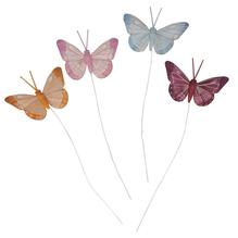Federschmetterlinge, 6,5cm, m. Draht, 4 Farben, SB-Btl 4Stück, bunt