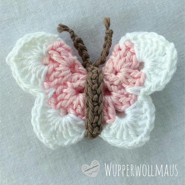 Schmetterling gehäkelt - rosa / weiß | Online City Wuppertal